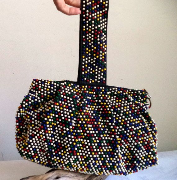 1940s Beaded bag Wristlet slouch Black wartime by MushkaVintage3