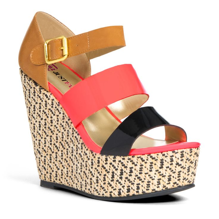 "Pin to Win $500! Wide straps with a pop of coral, and a geo-woven platform makes this wedge a warm-weather essential. Enter here: https://www.facebook.com/justfab/app_137377669785610?ref=ts   I love these, but I am intimidated by the height of them.  I would love them even more if they were mid-height.  Us 5'11"" girls sometimes have trouble not looking like RuPaul when we go with the higher heel :)"