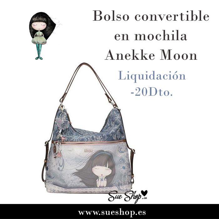 """Bolso convertible en mochila Anekke de la colección """"Moon"""", con un amplio compartimento principal con cremallera con varios bolsillos interiores. Además, tiene un bolsillo delantero para tener tus cosas más a mano y un bolsillo exterior en la parte trasera, ambos con cierre de cremallera.¡¡Ahora con un 20% de descuento!!! @sueshop_es #anekke #bolso #mochila #muñeca #complementos #descuento #liquidacion #oferta #sueshop"""