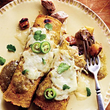 Pork and Plantain Enchiladas with Black Bean Puree | The sweetness from the plantains tames the spicy pork.