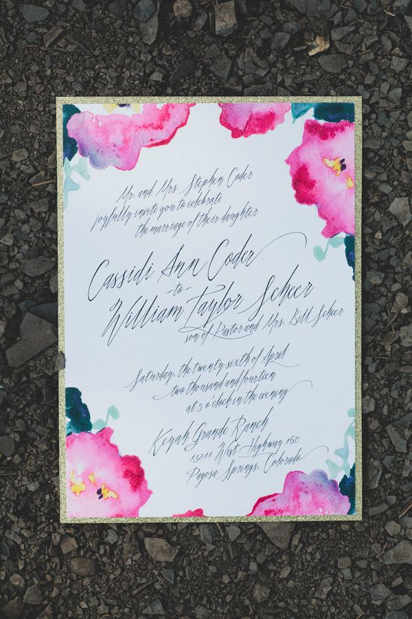 Watercolor florals. Gloria Joy Ink.  – photo by http://kristensoileauportraits.com/ – http://ruffledblog.com/pagosa-springs-wedding/