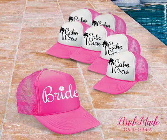 Cabo Bachelorette Party Decor, Matching Trucker Hats, Palm Tree Trucker Hats, Bride Trucker Hat, Cabo San Lucas Bachelorette, Los Cabos bachelorette, Neon Pick trucker hats, Bridesmaid gifts, hibiscus bride hat, Cabo Crew Hat
