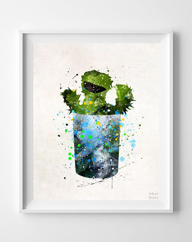 Oscar the Grouch Print, Sesame Street Watercolor Art, Nursery Art Print, Kids Room Decor, Baby Room Art, Baby Shower, Fathers Day Gift by InkistPrints on Etsy https://www.etsy.com/listing/257306120/oscar-the-grouch-print-sesame-street