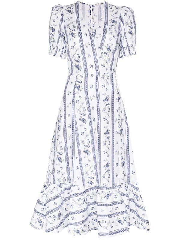 Vintage 70/'s  Long dress Lina C Polka-dot dress Dark blue  Dress with ruffles