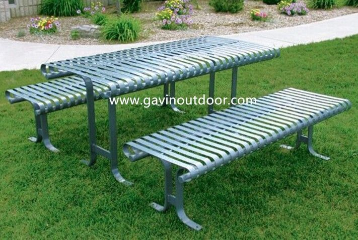 Akzo Nobel powder coated flat bar metal outdoor table with bench metal picnic set, View metal picnic set, Gavin Product Details from Guangzhou Gavin Urban Elements Co., Ltd. on Alibaba.com