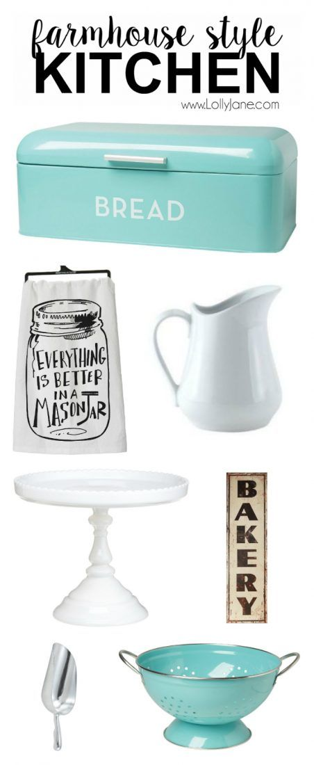 Farmhouse style kitchen accessories. Want to replicate the popular farmhouse style kitchen? Here are some great tips on what to buy to get that great Fixer Upper farmhouse style decor!