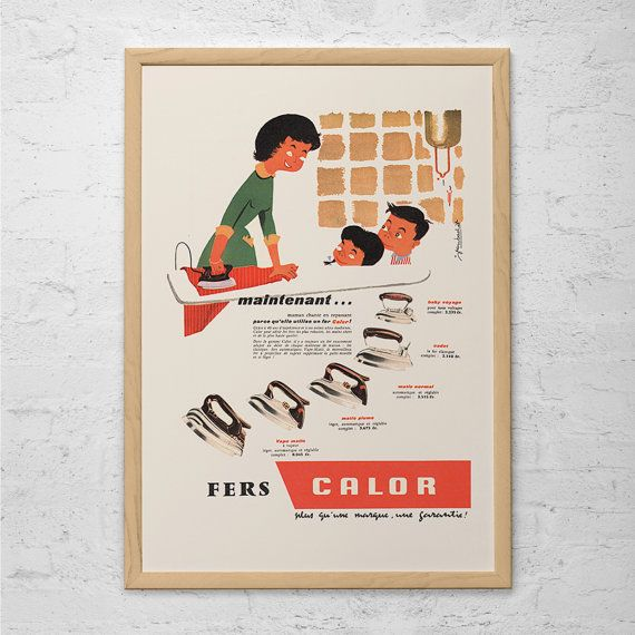 VINTAGE FRENCH AD - Retro Mid-Century Ad - Vintage Laundry Room Poster 1950's Retro Ad Cute Laundry Room Art Retro Home Decor Mad Men Party
