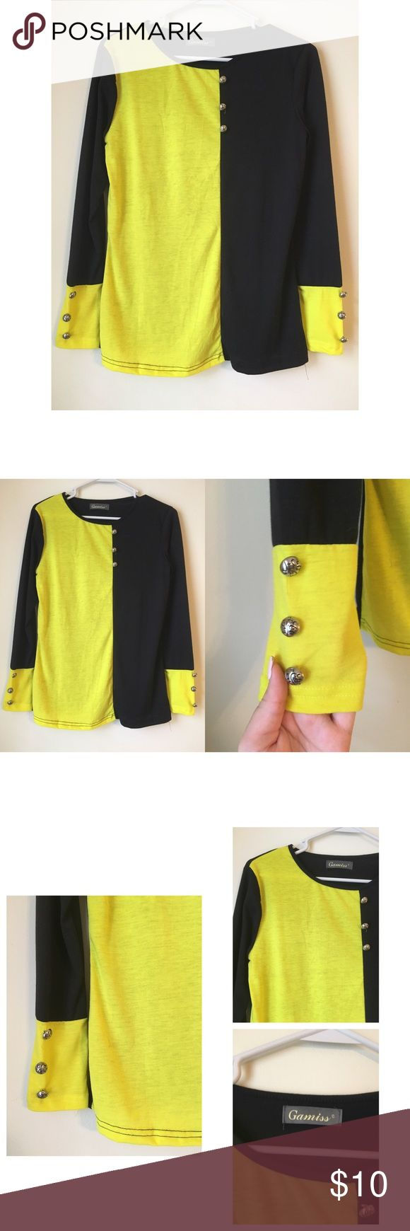 Formal colorblock blouse Size medium. Neon color with black colorblock. Nordstrom Tops Blouses