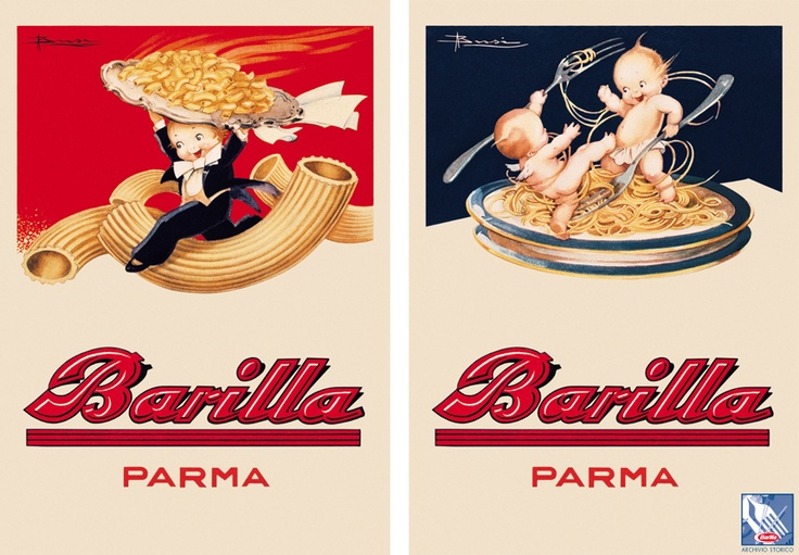 Barilla's artwork in the early 1930's often included cherubic characters.