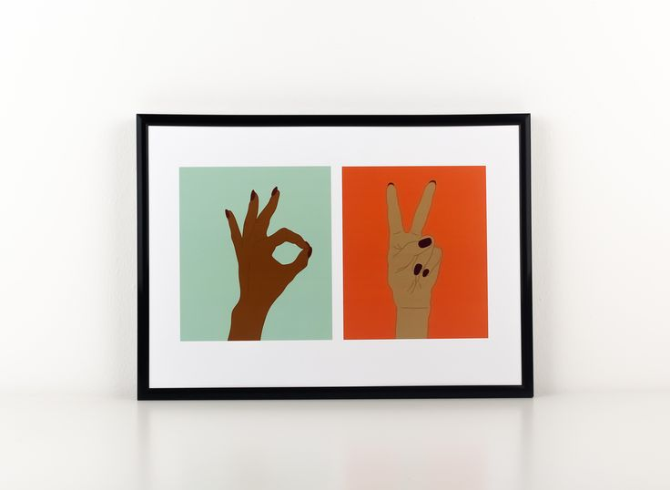 Brighten up your little corner of the world with this delightful combination of our 'A-Ok' and 'Peace' posters.