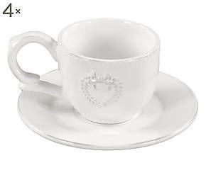 Set di 4 tazzine da caffe' con piattino in ceramica Fiocco - 7x15 cm