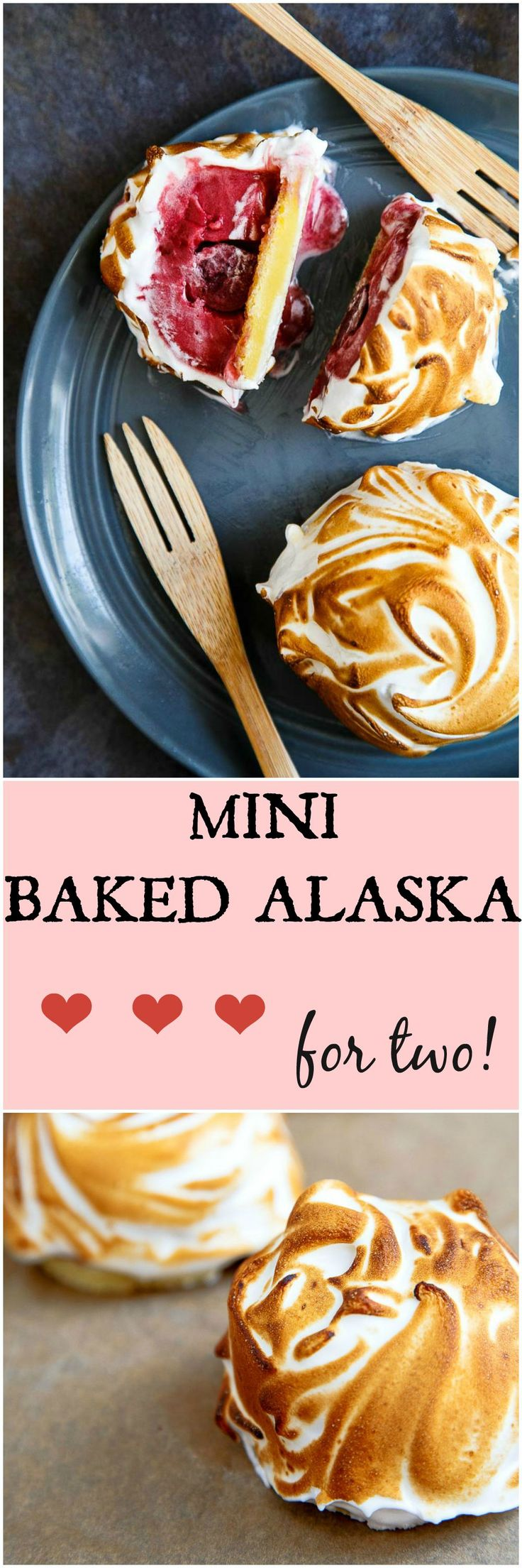 Two mini baked Alaskas--cherry sorbet on top of a slice of cake topped with meringue. EASIER than you think, and perfect for a date night dessert!