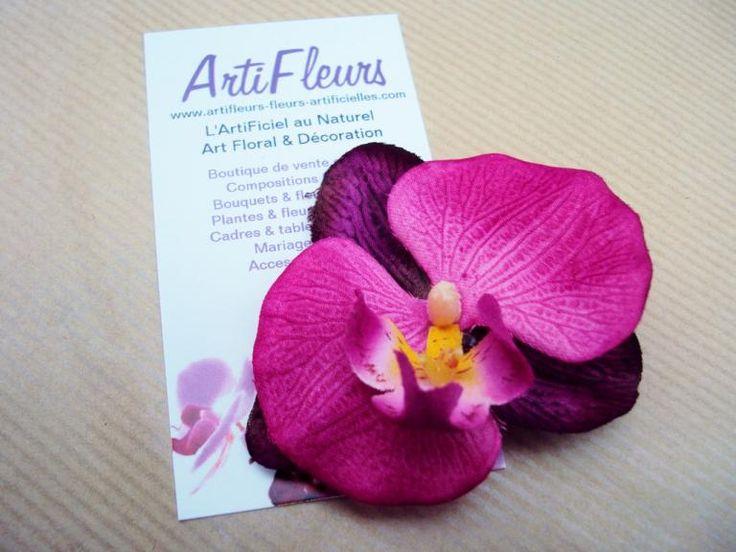 BROCHE ou BARRETTE FLEURON ORCHIDÉE fuchsia violet bordeaux