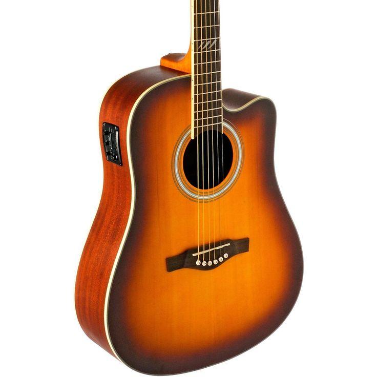 EKO TRI Series Dreadnought Cutaway Acoustic-Electric Guitar Honey Burs