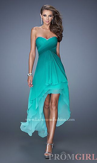 Strapless Sweetheart High Low Dress at PromGirl.com