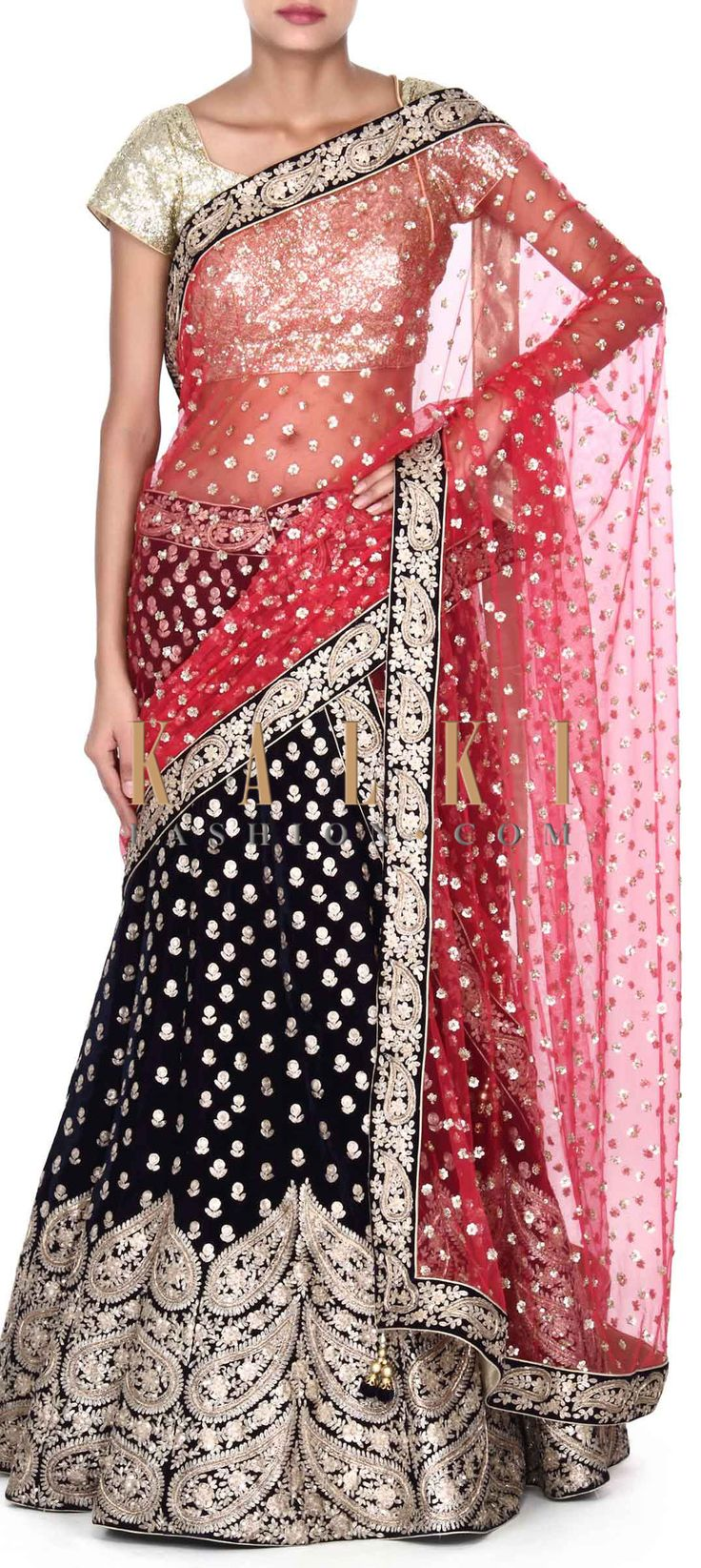 Buy this Navy blue lehenga in paisley motif embroidery only on Kalki
