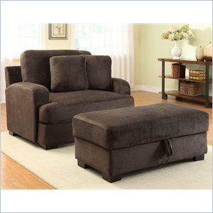 Homelegance Craine Oversized Chair And Ottoman Set In Textured Plush Microfiber