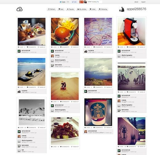 Instadash is a really cool web app that allows you to view your instagram feeds/photos in a pinterest-like interface