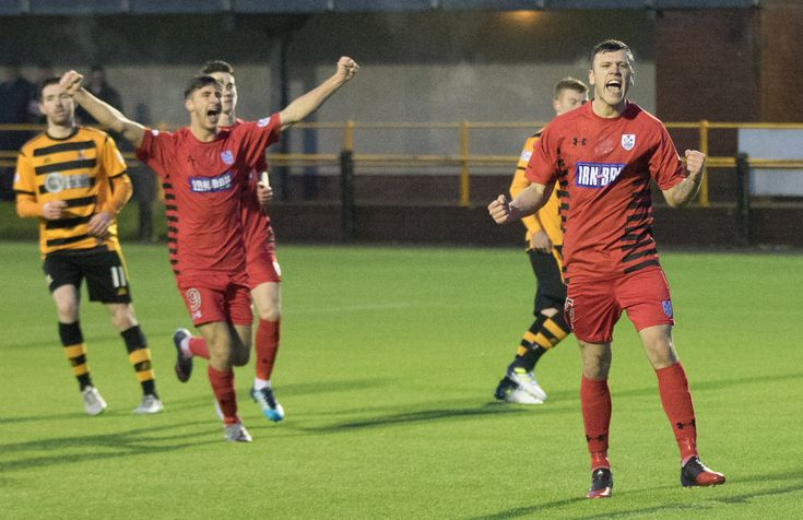 Queen's Park's Adam Cummins celebrates his goal during the SPFL League One game between Alloa Athletic and Queen's Park