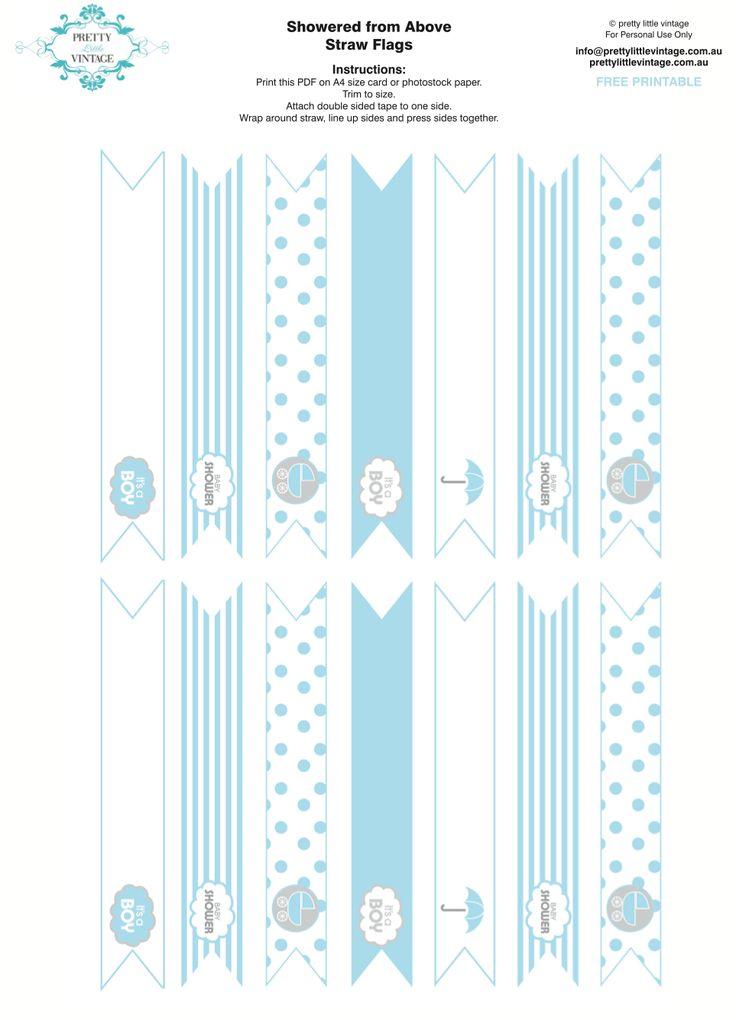 Free Printable Baby Shower Party Straw Toppers Via Karau0027s Party Ideasu2026