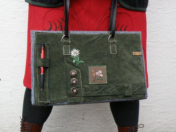 Vintage German Lederhosen Bag Green Edelweiss by P8Accessories, €139.00