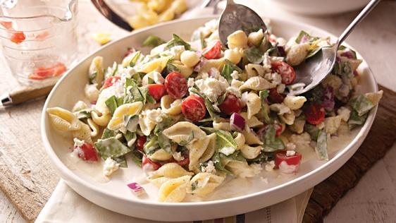 Creamy Mediterranean Pasta Salad: Side Dishes, Salad Recipes, Creamy Mediterranean, Food, Mediterranean Pasta Salads, Grape Tomatoes, Cooking, Pasta Salad Recipe, Salad Allrecipes Com