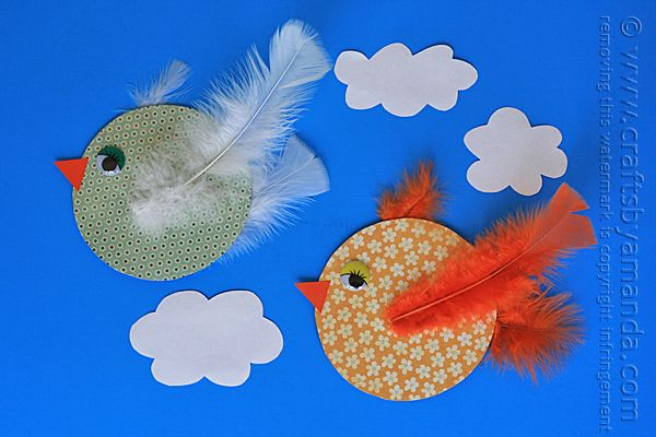 Recycled CD Crafts: Colorful Birds by Amanda Formaro of Crafts by Amanda