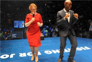 After 8 Years At The Helm. Leading South Africa's Largest Opposition Party, Hellen Zille Is Stepping Down As Leader. We Wish Her Well And Every Success, For The Future, Even As She Continues On With Her Term Of Office As Premier Of The Western Cape. Standing Alongside Her Is The Mmusi Maimane. He Is The DA Parliamentary Leader, And IsTipped To Succeed Hellen Zille As National Leader Of The DA.