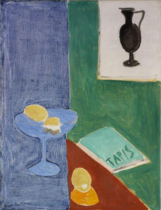 Henri Matisse (1869-1954), Still Life with Lemons, 1914; Oil on canvas, 70.2 x 53.8 cm (27 5/8 x 21 3/16 in); RISD Museum, Providence RI