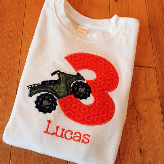 Boys Birthday Applique Four Wheeler Shirt by LeelynnCrafts on Etsy, $24.50