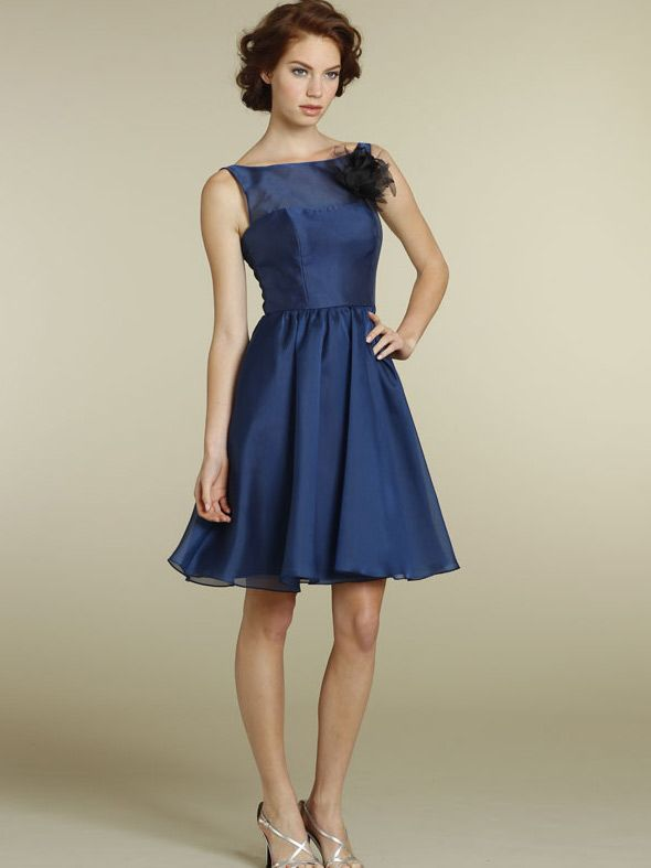 navy organza a-line knee length casual bridesmaid dress with boat neckline