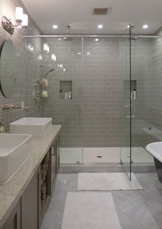 Contemporary Master Bathroom with Rain shower, Daltile Rittenhouse Square Matte Desert Gray 3 in.