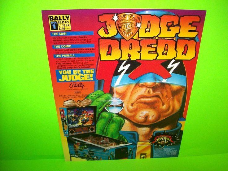 #JudgeDredd #Pinball #PinballFlyer #BallyPinball Bally JUDGE DREDD Original 1993 NOS Flipper Pinball Machine Promo Sales Flyer  #Bally