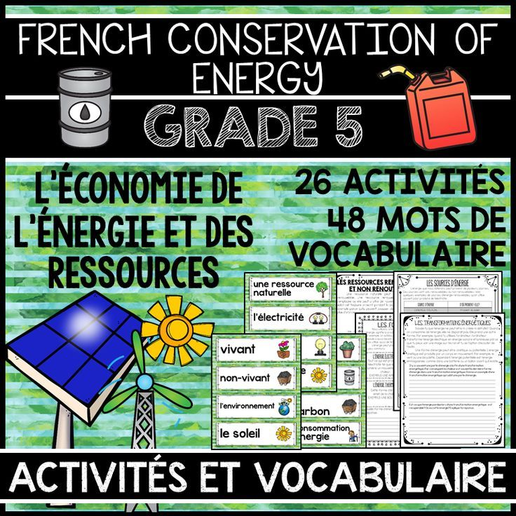 THIS UNIT IS PART OF A GRADE 5 ALL SCIENCE UNITS BUNDLE, WHICH INCLUDES ALL FOUR GRADE 5 SCIENCE UNITS IN FRENCH. SAVE 20% BY PURCHASING THE BUNDLE.  This file includes a Grade 5 French Science Unit for Conservation of Energy (L'ÉCONOMIE DE L'ÉNERGIE ET DES RESSOUCES). The unit includes 48 word wall labels and 26 activities.