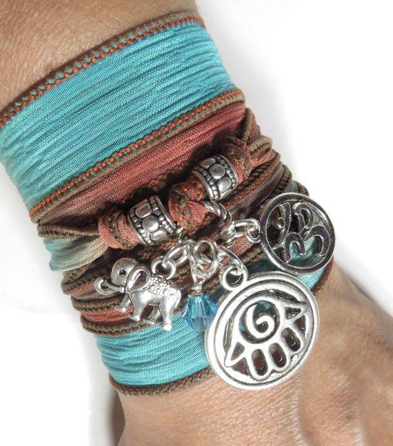 Bohemian Om Hamsa Silk Wrap BraceletYoga JewelryElephant by HVart