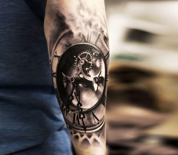 3d clock tattoo by oscar akermo More