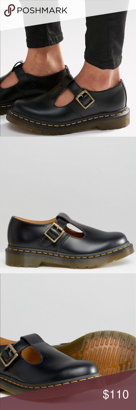 Dr Martens Core Polley T-Bar Flat Shoes Brand new never been used...                                   Smooth leather upper T-bar design Pin-buckle fastening Round toe Top stitch detail Air-cushioned sole Textured tread 100% Real Leather Upper Dr Martens Shoes Flats & Loafers