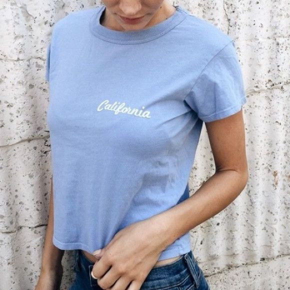 Brandy Melville California cropped tee Brandy Melville/John galt cropped tee. Never worn but tags were removed . Great condition! Brandy Melville Tops Tees - Short Sleeve