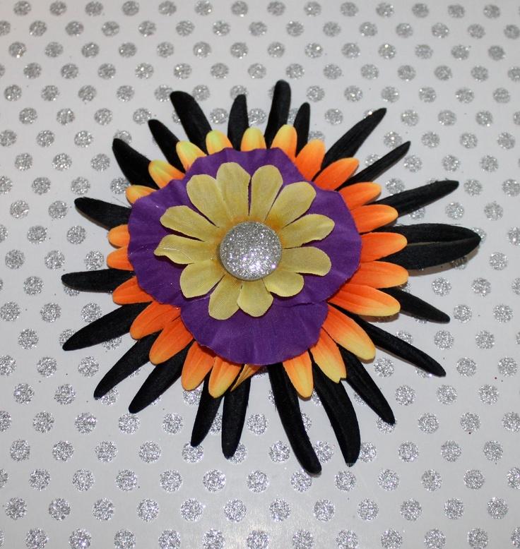Halloween Black Orange Purple Daisy Flower Hair Clip. $4.00, via Etsy.
