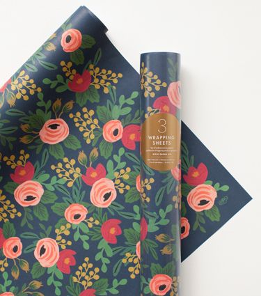 """Rosa Wrapping Sheets  $8.50   Our Rosa wrapping sheets are adorned in a rich botanical pattern. These romantic florals make the perfect wrapping sheet for all kinds of occasions and art projects!     - 3 sheets included on each roll  - 19.5"""" x 27"""" size sheets  - Printed locally in the US"""