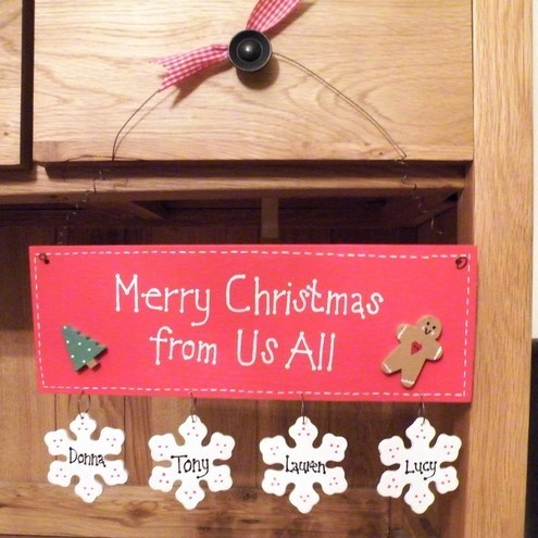'Merry Christmas from Us All' hanging plaque