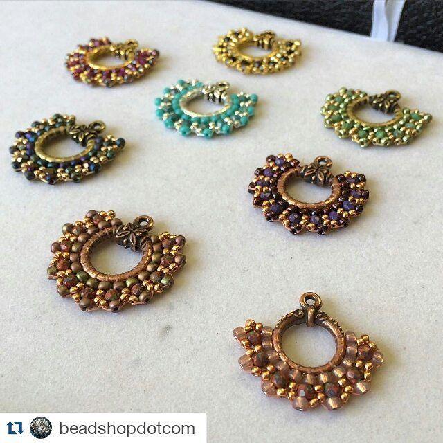 Brick stitching on toggle clasp rings from beadshopdotcom. ##seedbeadearrings…