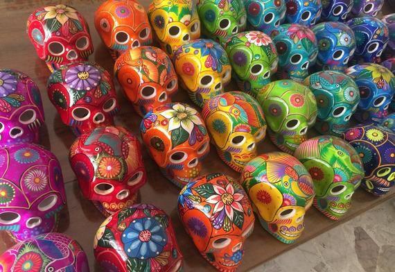 Ceramic Skulls Large X 10 Dia De Los Muertos Ceramic Skulls Etsy In 2020 How To Make Ornaments Coral Party Decorations Mexican Fiesta Decorations