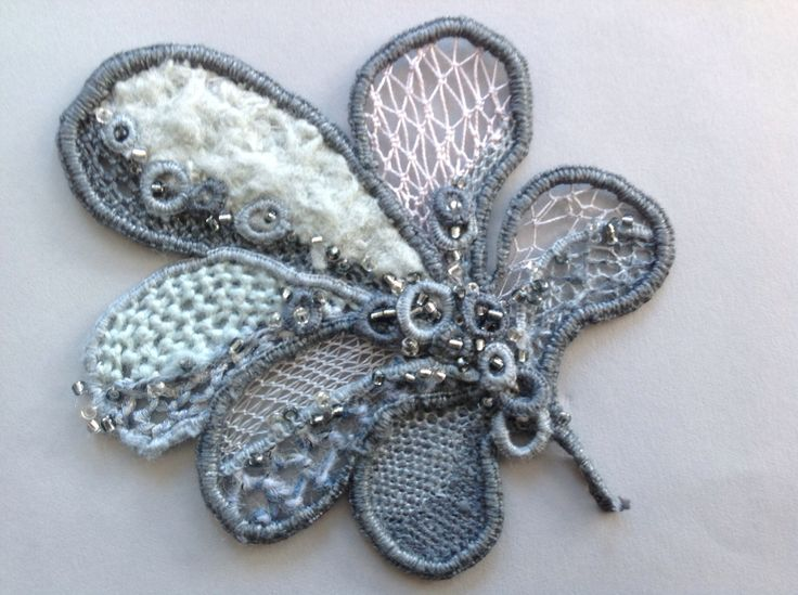 Needlelace worked in various textured threads - I designed this last year but have only just completed it