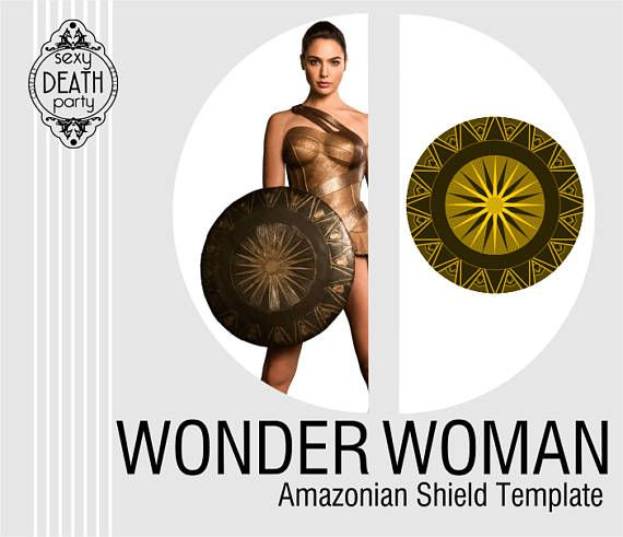 "This listing is for one PDF file of a pattern and decorative designs which can be used to make Wonder Woman's Amazonian shield. Template is for a 22"" diameter design printable on your home computer. Document is 20 pages. Patterns are based on Gal Gadot's Wonder Woman. Page 1: cover page Page 2: tips Page 3-11: pattern optimized for US Letter sized paper Page 12-20: pattern optimized for A4 sized paper Digital downloads are non-refundable. If you choose to make this and sel..."