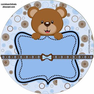 Kit Baby Shower Teddy Brown and Blue