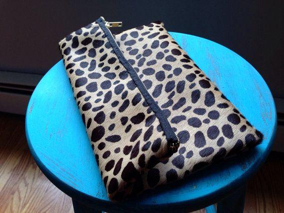 Cheetah Print Calf Hair FoldOver Clutch by TheProvidenceStory
