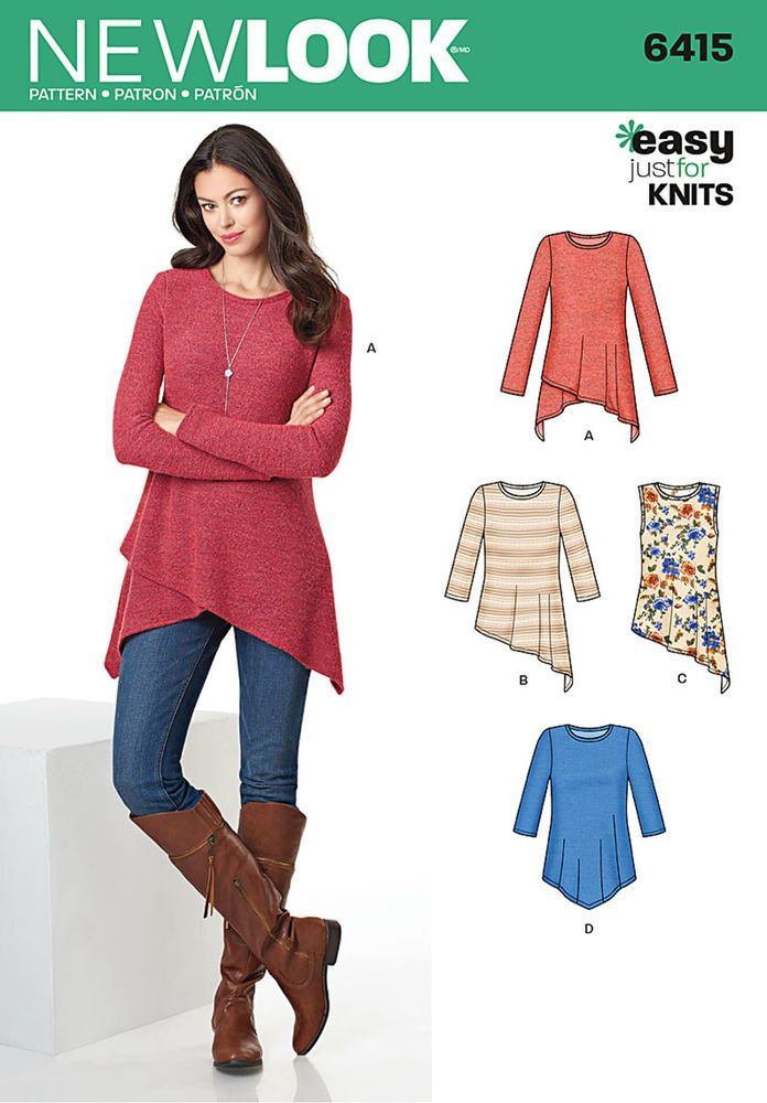 Pair this miss knit tunic with leggings and you're ready to go. Pattern includes tunic length top with various asymmetric hemlines and sleeve options from sleeveless to long. New Look sewing pattern.
