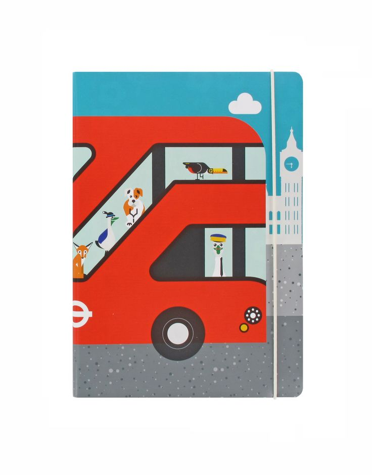 A fun notebook featuring the iconic New Routemaster bus and characters from London Transport Museum's family play zone, 'All Aboard'. Exclusively available at London Transport Museum.