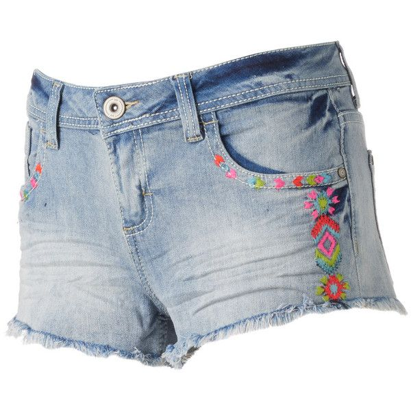 Juniors' Almost Famous Fray Hem Neon Embroidery Shortie Jean Shorts ❤ liked on Polyvore featuring shorts, jean shorts, embroidered jean shorts, embroidered denim shorts, embroidered shorts and neon jean shorts